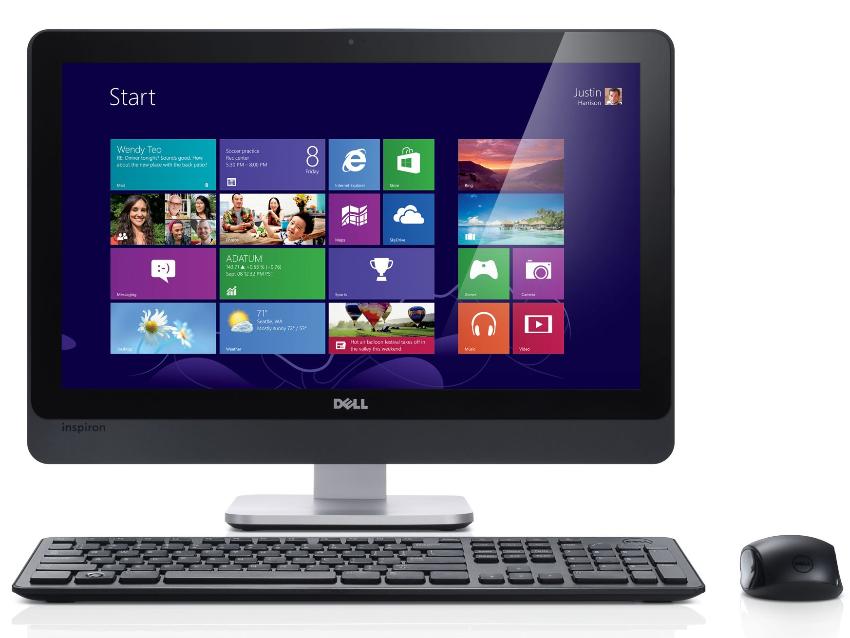 Dell Inspiron One 23 (2330) touch all-in-one desktop computer with KM632 (Burgundy) wireless keyboard and mouse.